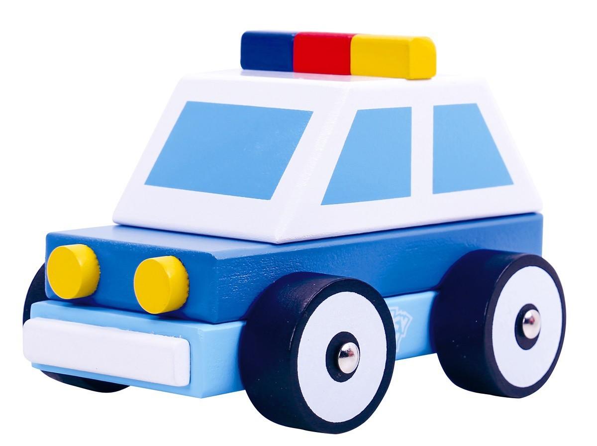 Carro de Madeira Carro Policia Desmontável