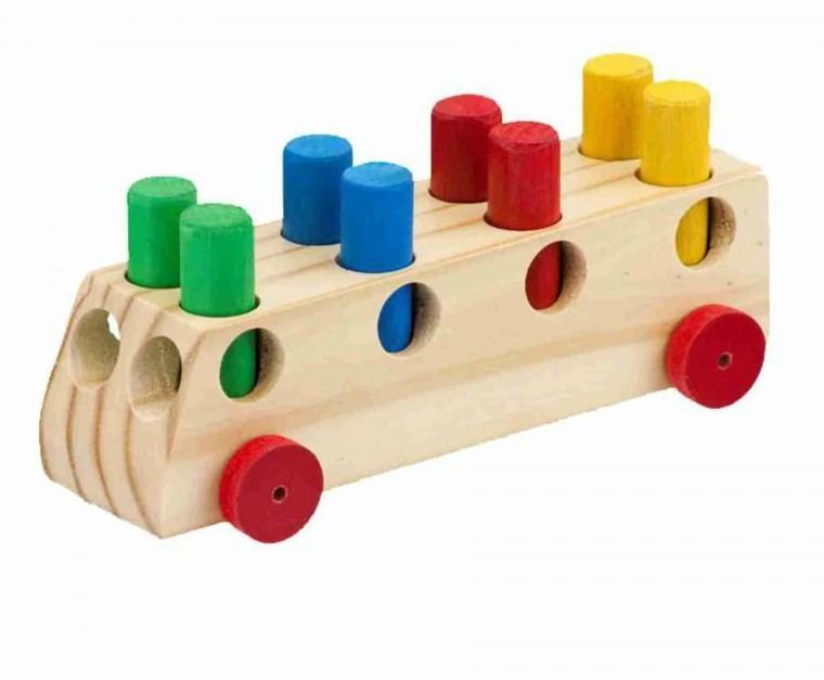 Carro de madeira Ônibus com Pinos
