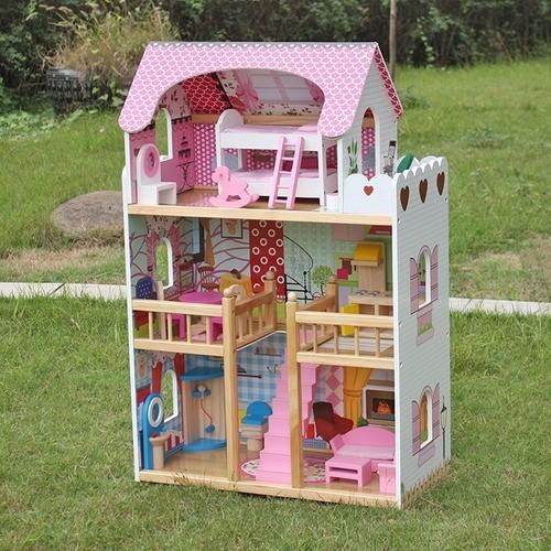 Casinha de Boneca Cintilante A163 Brinquedo de Madeira