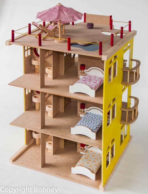 Casinha de Boneca de Madeira Edifício com Móveis
