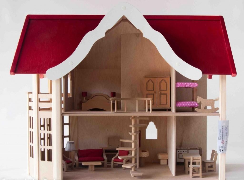 Casinha de Boneca de Madeira Mansão com Móveis Brinquedo Educativo