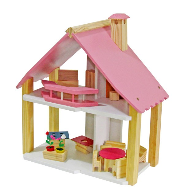 Casinha de Boneca de Madeira Mini Chalé Pink Brinquedo Educativo