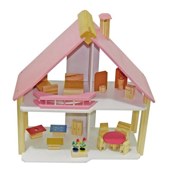 Casinha de Madeira de Boneca  Casa de Boneca Pink