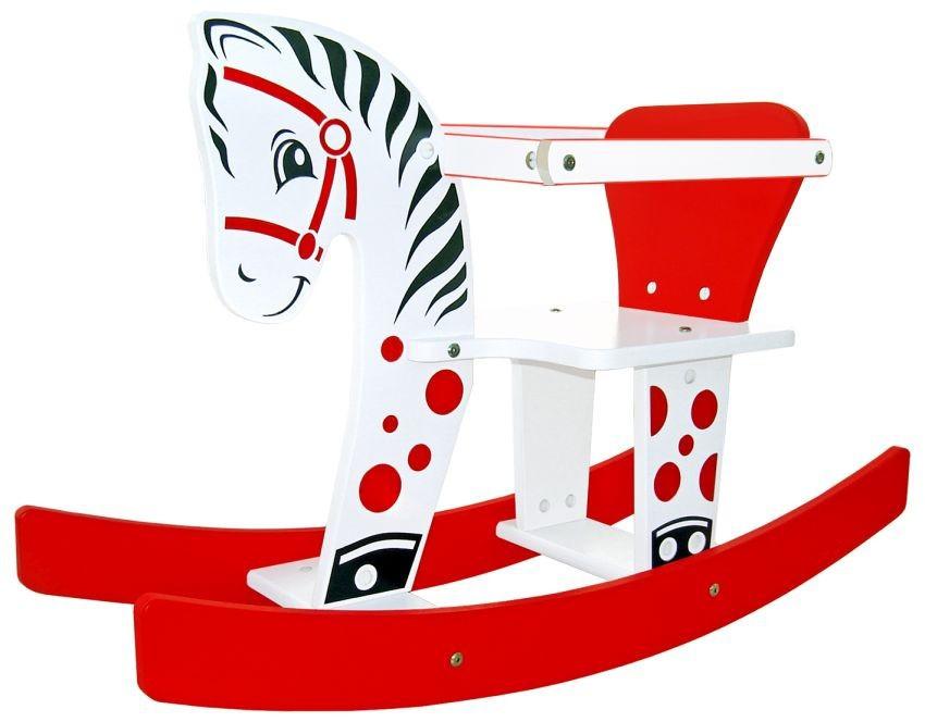 Cavalo de balanço em Madeira Gangorra Bebê Vermelho