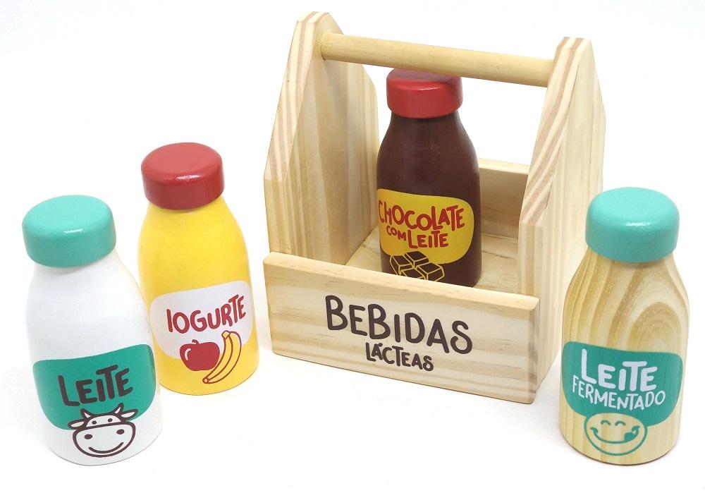Coleção Comidinhas de Madeira Kit Bebidas Lácteas