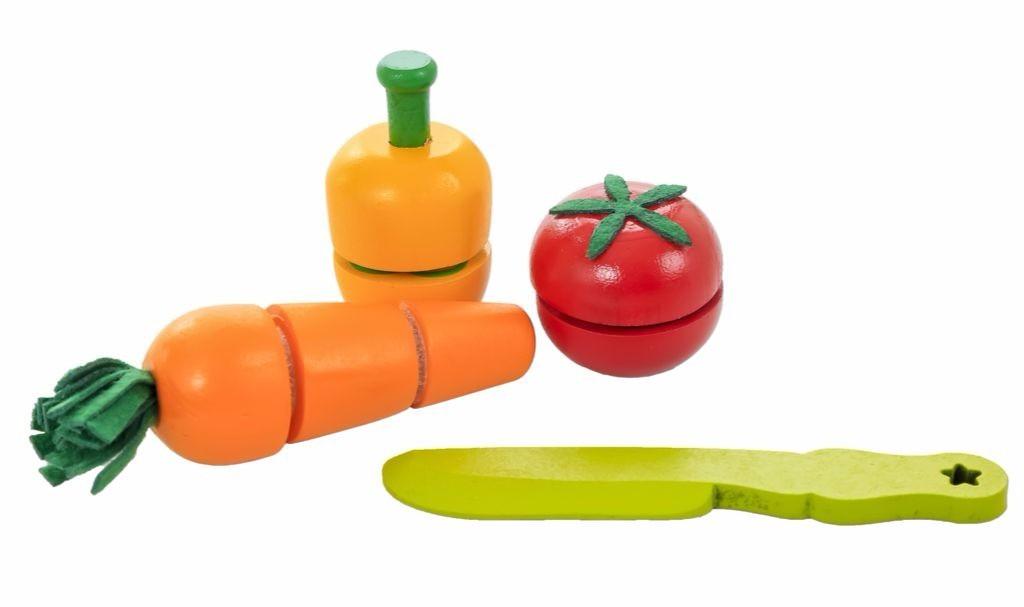Coleção Comidinhas de Madeira Kit Pimentão, Cenoura e Tomate
