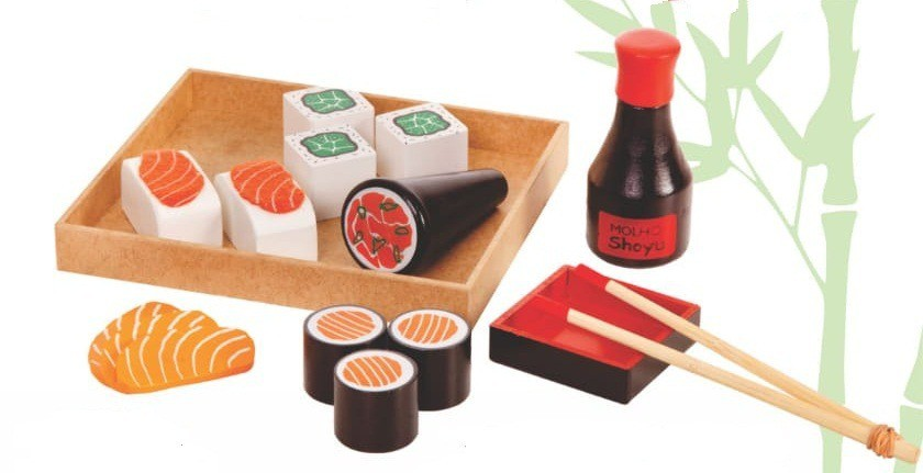 Coleção Comidinhas de madeira Kit Sushi