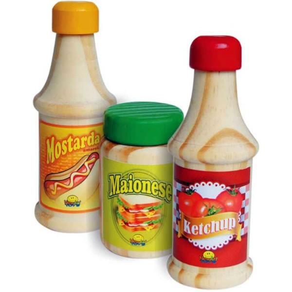Comidinha de Madeira Coleção Comidinhas - ketchup, Mostarda e Maionese