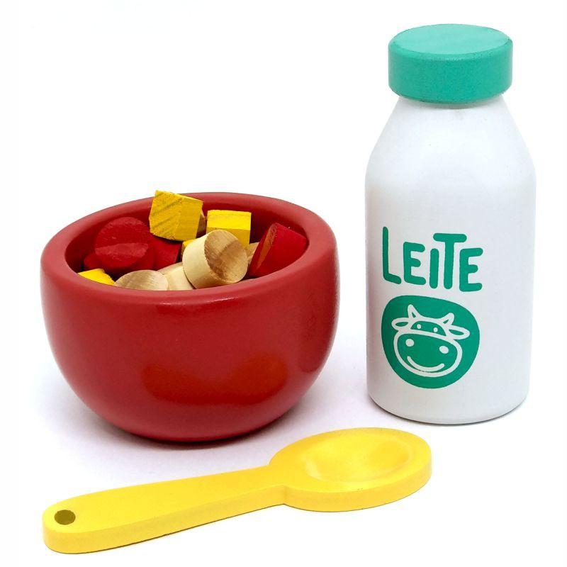 Comidinhas de Madeira Coleção Comidinhas Kit Cereais com Leite