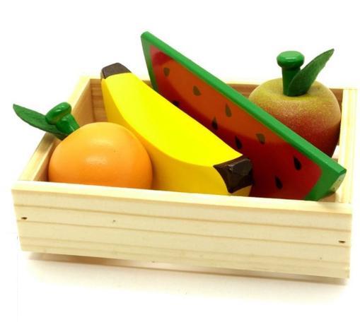 Kit Frutas Sem Corte 4 Frutas Coleção Comidinhas Brinquedo de Madeira