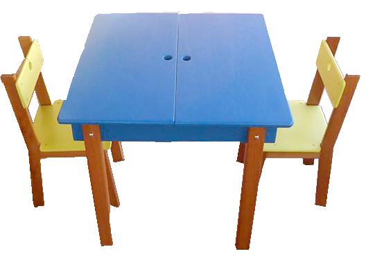 Conjunto de MesaInfantil de Madiera com 2 Cadeiras que abre no meio