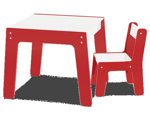 Conjunto Mesa com 1 Cadeira Infantil de Madeira Vermelha