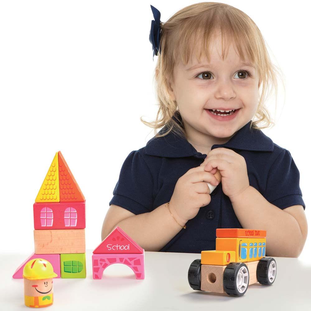 Construindo com Bloquinhos Escolinha Brinquedo Educativo de Madeira