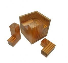 Desafio Quebra Cabeça de Madeira Tridimensional Cubo