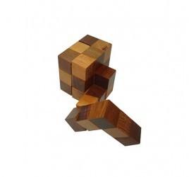 Desafio Quebra Cabeça de Madeira Tridimensional Cubo em Linha