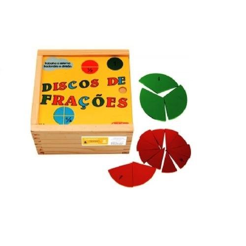Discos de Frações Brinquedo Educativo de Madeira
