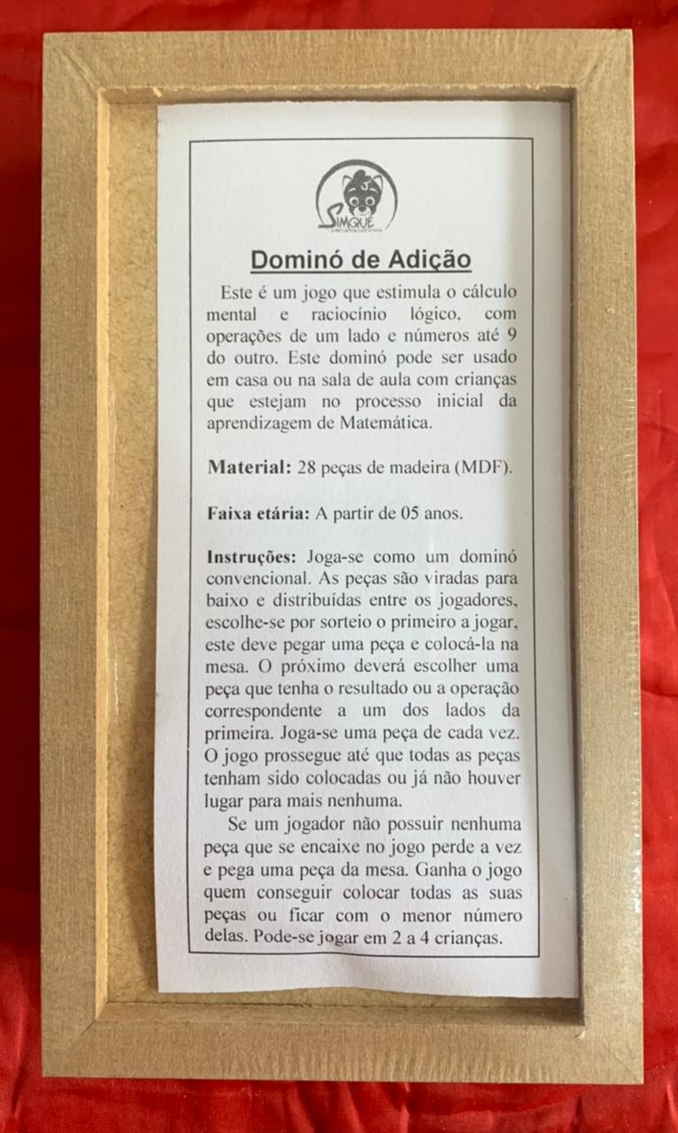 Dominó Adição Jogo Educativo de Madeira