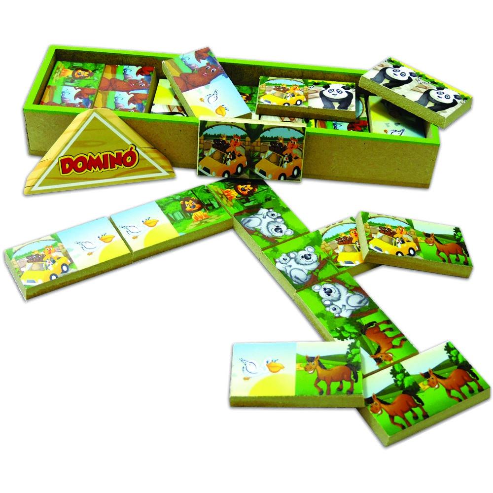 Dominó infantil Brinquedo Educativo de Madeira