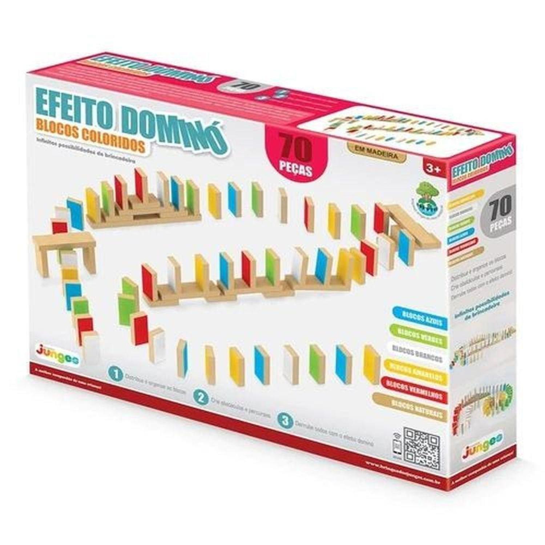 Efeito Dominó 70 Peças Brinquedo de Madeira