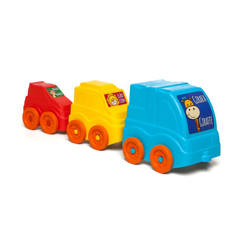 Empilha e Puxa Carrinhos Brinquedo Educativo
