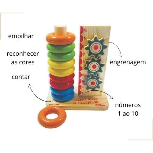 Empilhar e Contar Brinquedo Educativo de Madeira