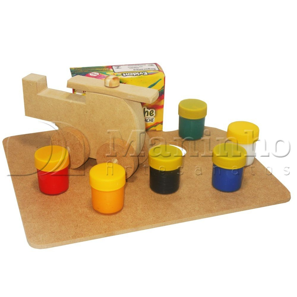 Faça e Brinque Kit Veiculos de Madeira Kit Pintura
