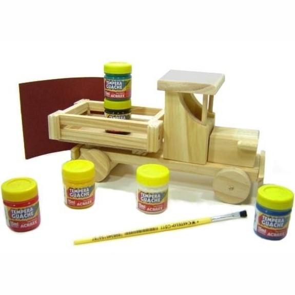 Faça e Brinque Kit Veículos de Madeira para Pintar e Brincar M