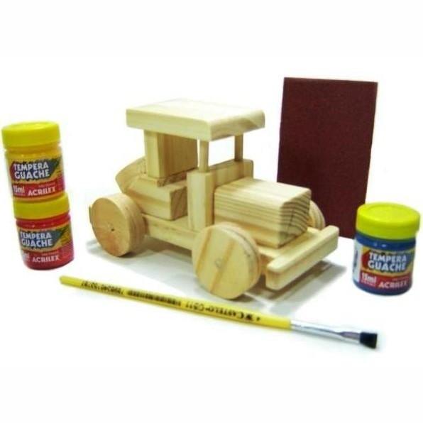 Faça e Brinque Kit Veículos de Madeira para Pintar e Brincar P