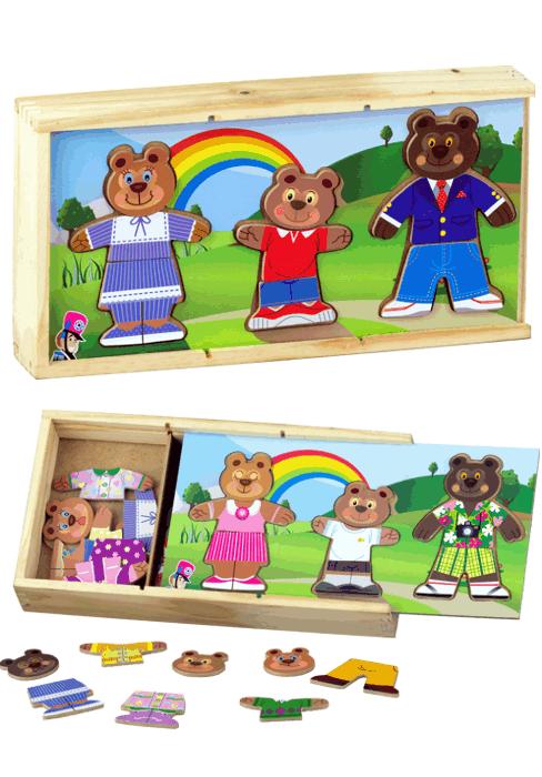 Família Urso Troca de Roupa Quebra Cabeça de Madeira