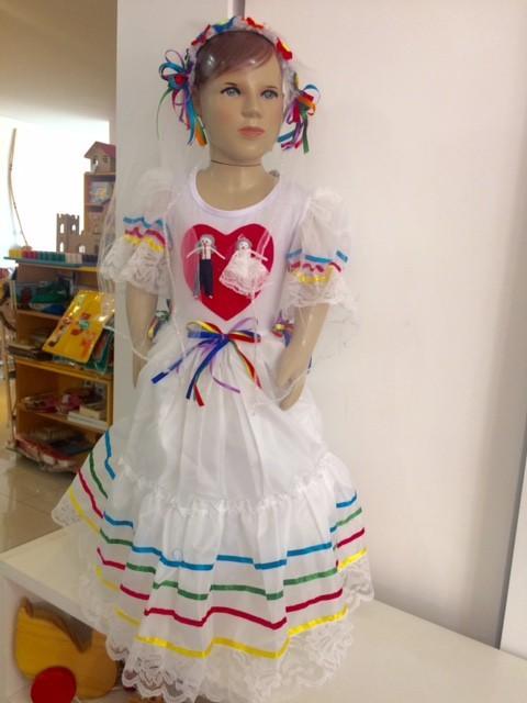 Fantasia Vestido Caipira de Noiva para Festa Junina - tamanho G