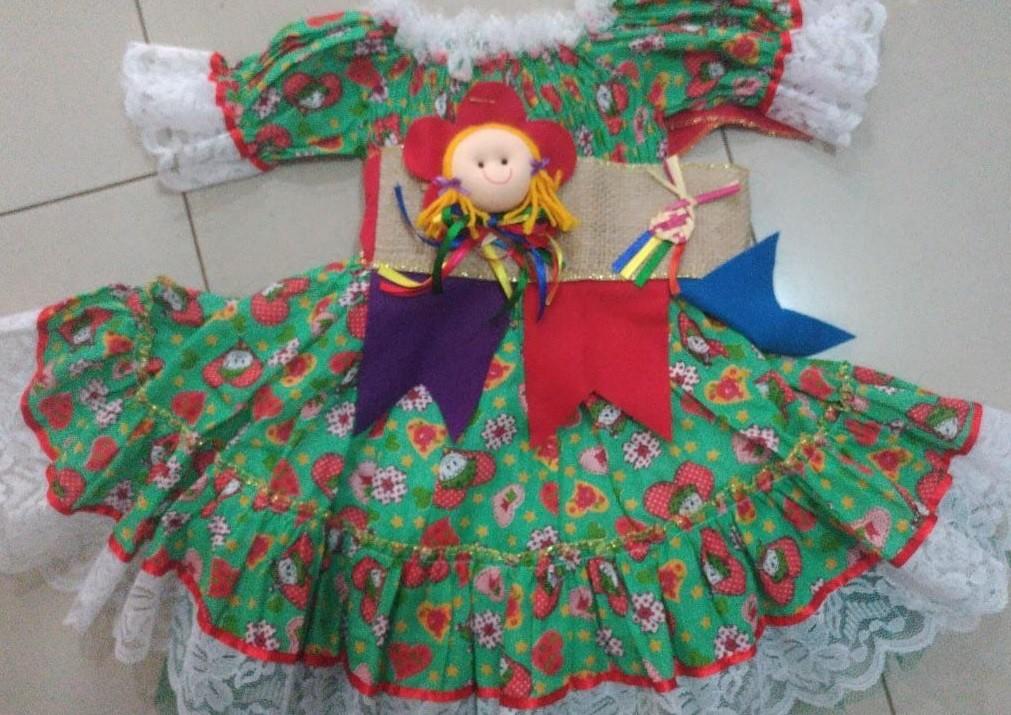 Fantasia Vestido Caipira para Festa Junina Bonequinha PP