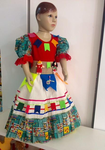Fantasia Vestido Caipira para Festa Junina Cru Tamanho P
