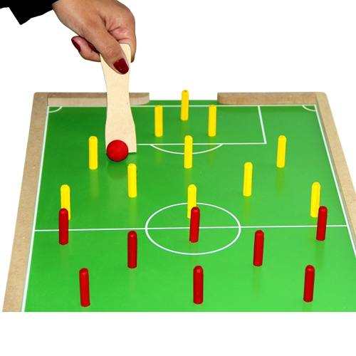 Futebol de Pinos com 2 pazinhas Brinquedo de Madeira