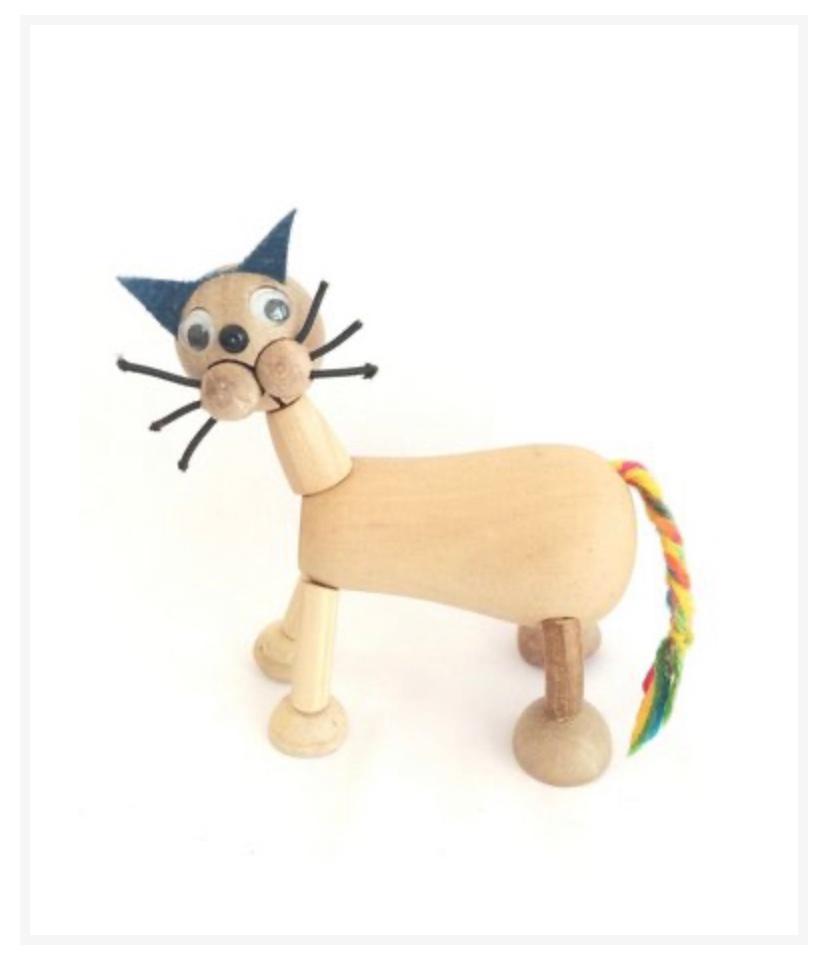 Gato Bacana Animal de Madeira Articulado Brinquedo Tradicional