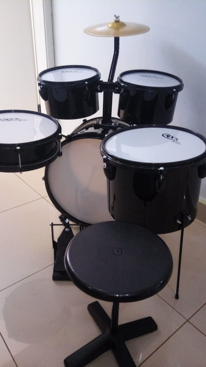 Instrumento Musical Bateria Infantil Baby M2 Preta