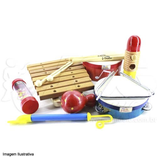 Instrumento Musical Infantil de Madeira Bandinha Rítmica 8 peças