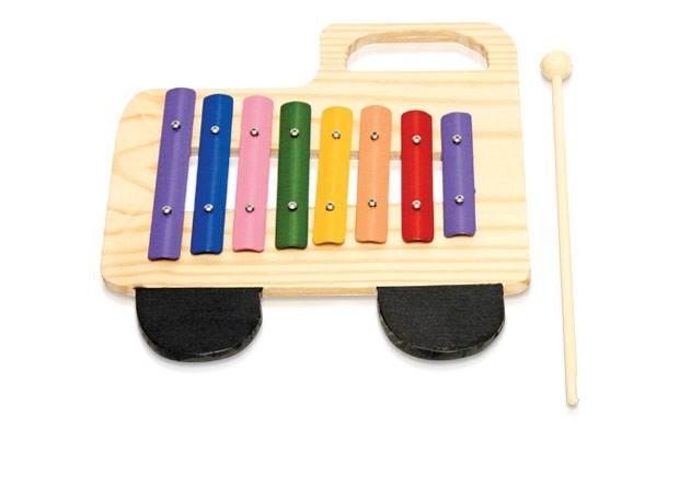 Instrumento Musical Infantíl de Madeira Metalofone Caminhão Colorido