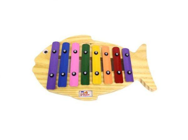 Instrumento Musical Infantíl de Madeira Metalofone Peixe Colorido