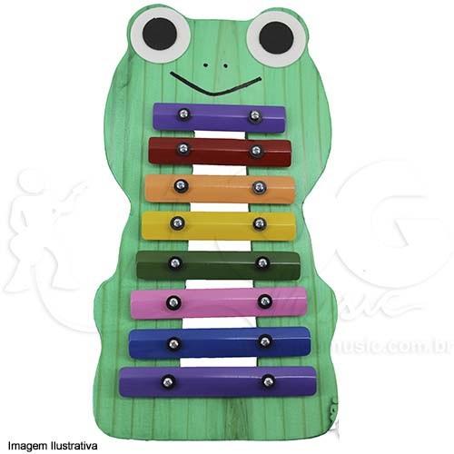 Instrumento Musical Infantil de Madeira Metalofone Sapo Colorido