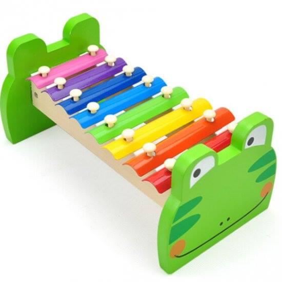 Instrumento Musical Infantil de Madeira Metalofone Sapo Custom