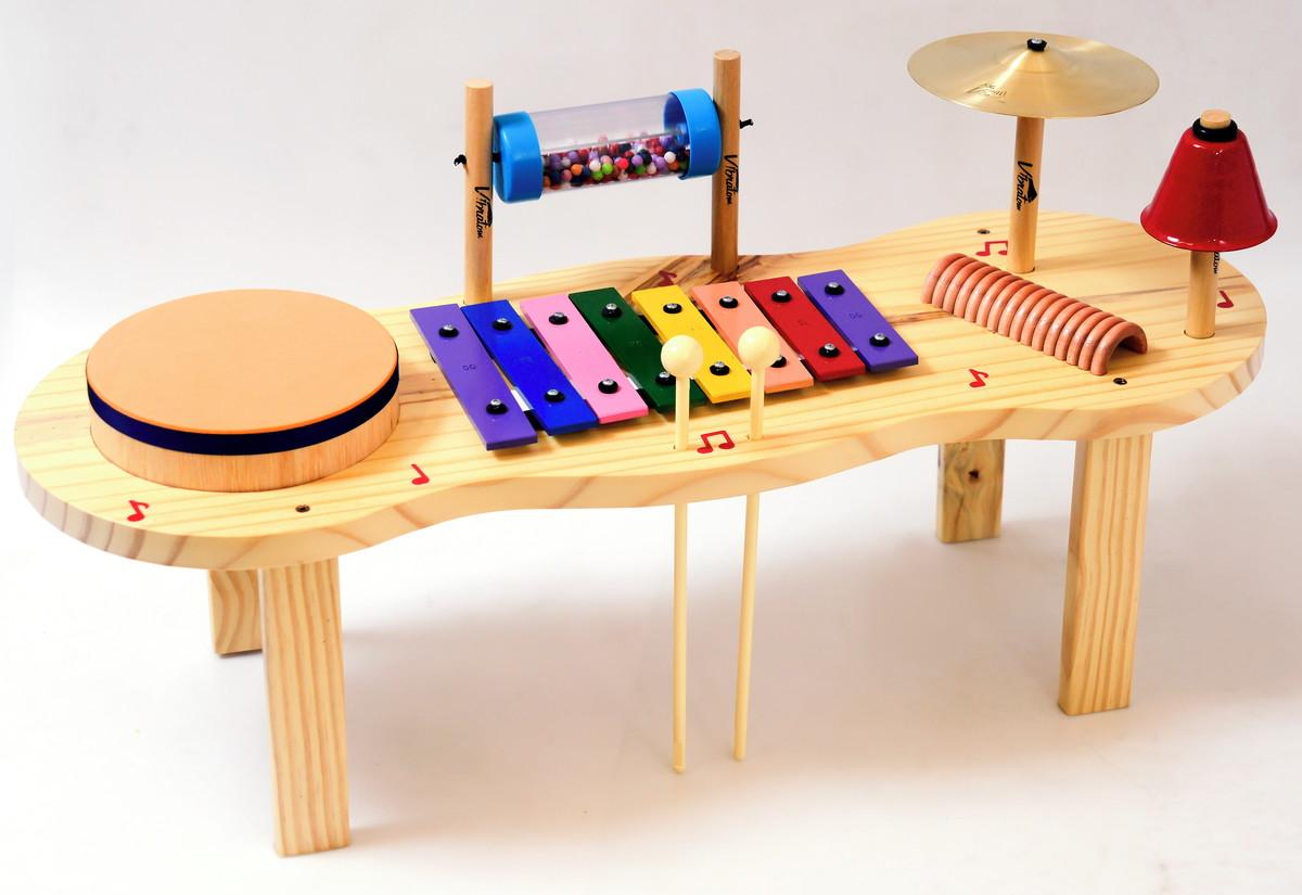 Pequena Percussão Baby Instrumento Musical Infantil de Madeira
