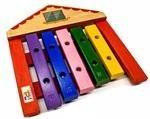 Instrumento Musical Infantil de Madeira Xilofone Casa 5 Teclas