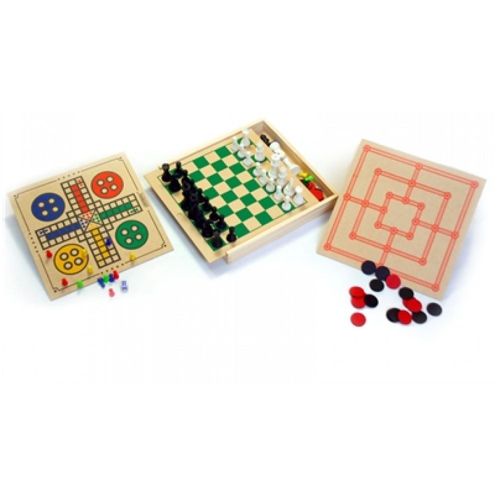 Jogo 4 em 1 Brinquedo Educativo de Madeira