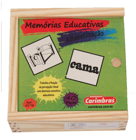 Jogo da Memória de Madeira Alfabetização
