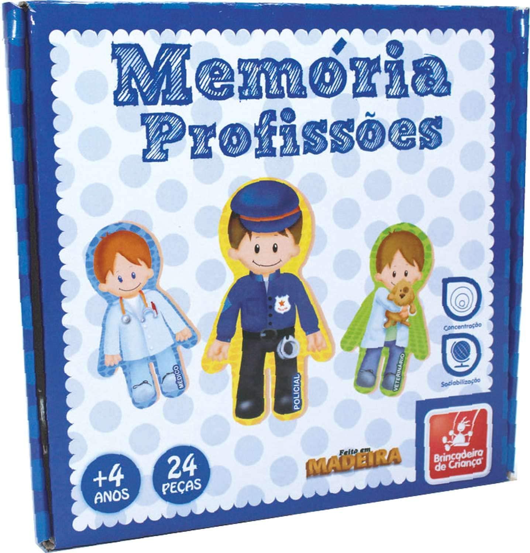 Jogo da Memória de Madeira Profissões Brinquedo educativo de madeira