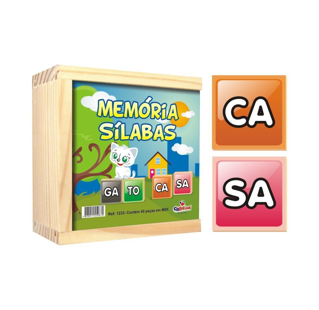 Jogo da Memória de madeira Sílabas 40 peças