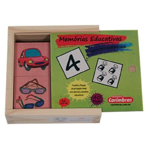 Jogo da Memória Números e Quantidades Brinquedo  Educativo de Madeira