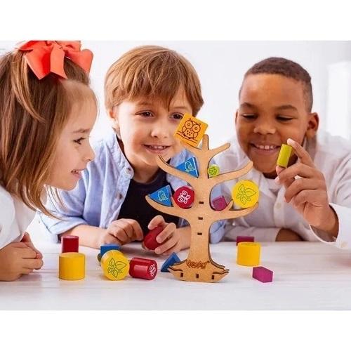 Jogo do Equilíbrio Árvore Brinquedo Educativo de Madeira
