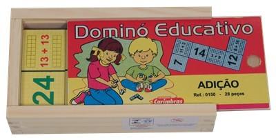 Jogo Educativo de Madeira Dominó Adição
