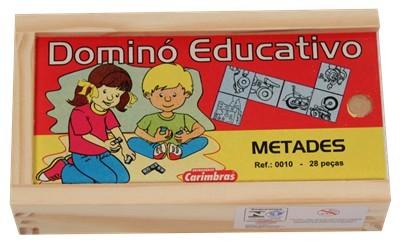 Dominó de Metades Jogo Educativo de Madeira